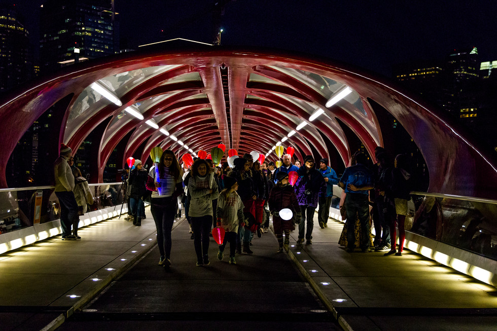 Calgary Photographer - Light the Night Event - Charity - Non Profit Peace Bridge