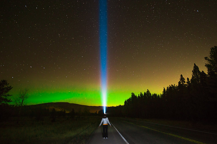 Claudia and the Aurora; Highway 66, Alberta