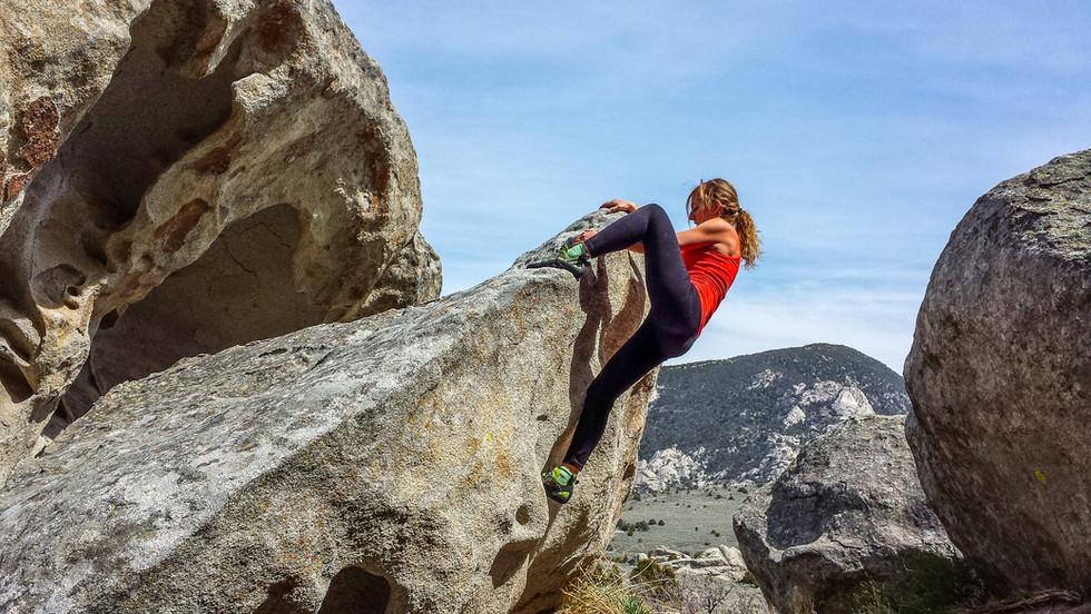 Mary-Lane bouldering at City of Rocks