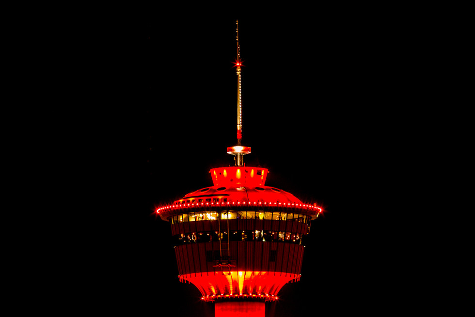 Close up of the Calgary Tower.