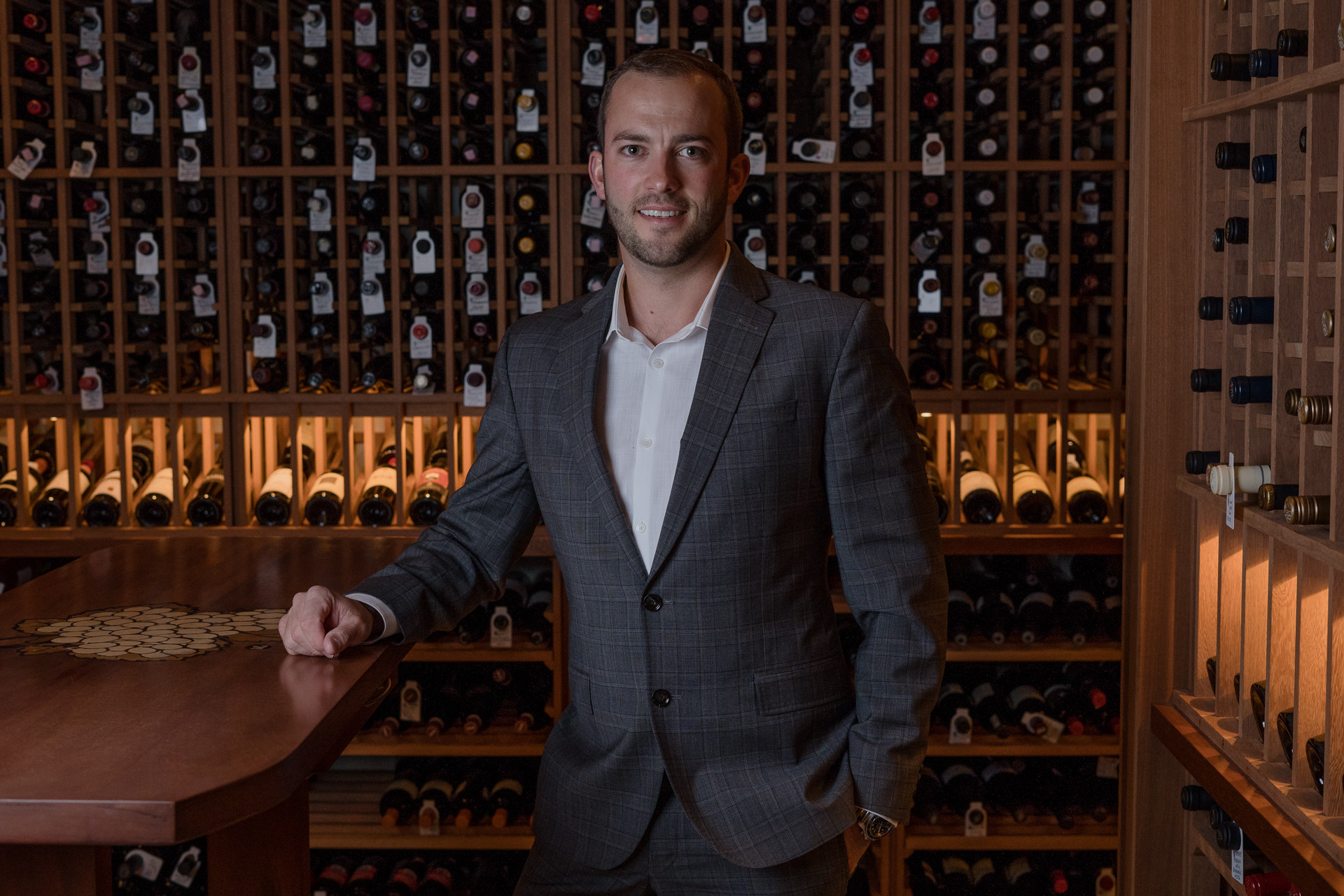 Corporate Headshot for Mike Sheret, Medium photograph Wine Cellar