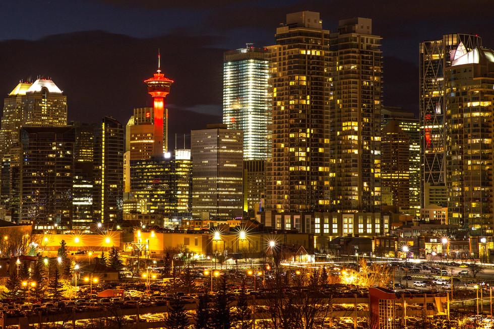 Long exposure of Calgary commercial buildings