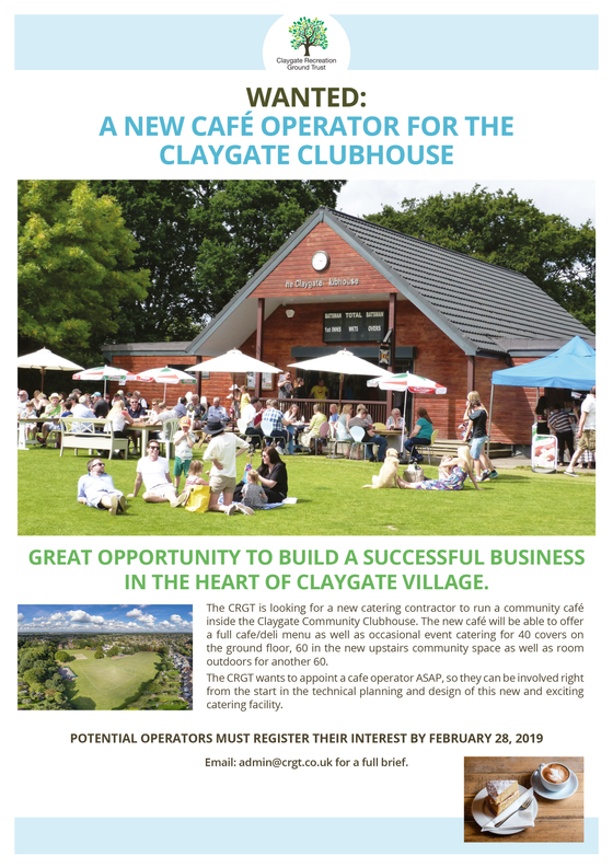 WANTED: A NEW CAFE OPERATOR FOR THE CLAYGATE CLUBHOUSE