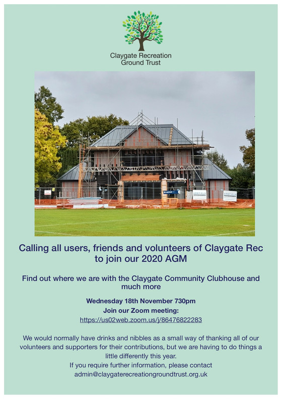Calling all users, friends and volunteers of Claygate Rec to join our 2020 AGM