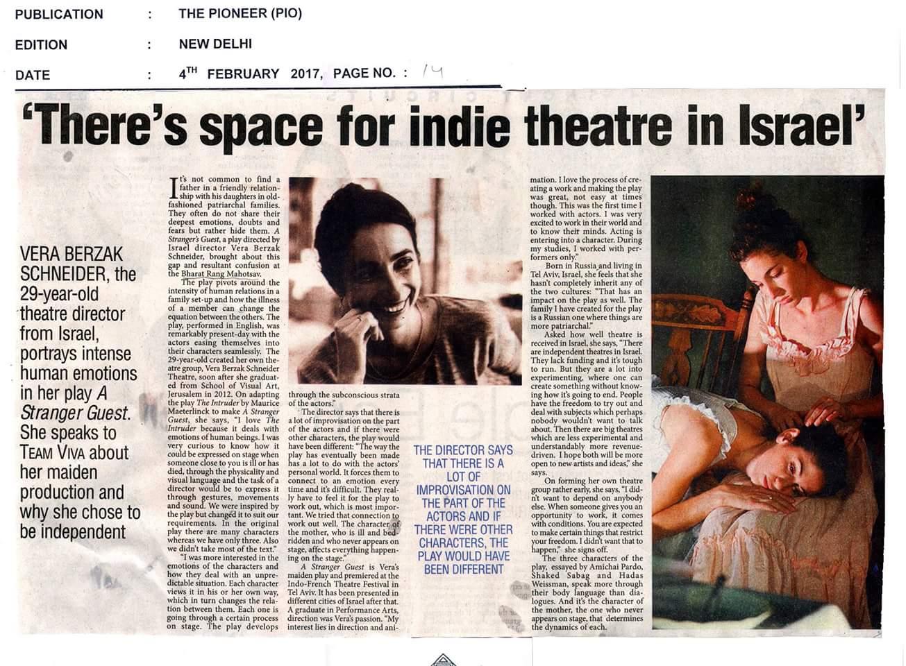 The Pioneer interview Delhi
