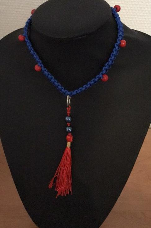 Huiscollier Blauw /rode tassel Galgo