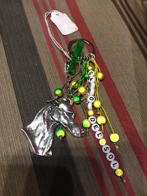 Sleutelhanger galgo groen geel