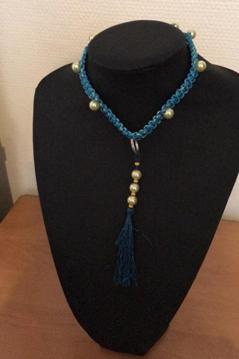 Huiscollier Blauw 3 parels/goud Galgo