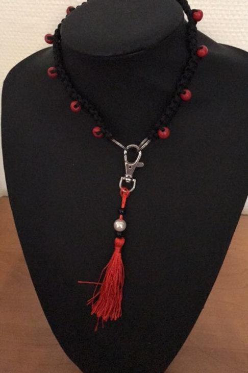 Huiscollier Zwart/ rode tassel Galgo