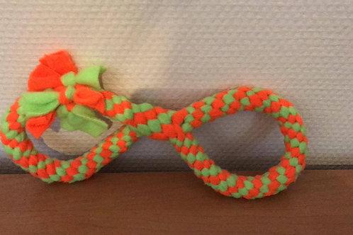Fleece strik 24cm oranje geel fluo