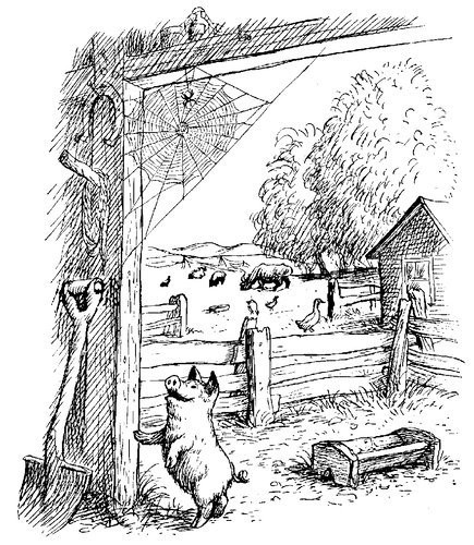 Charlotte's Web illustration with each character seen