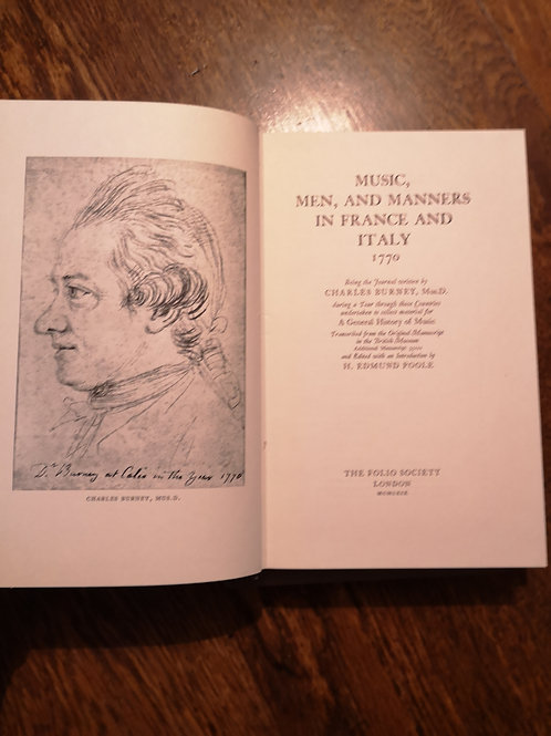 Music, Men and Manners in France and Italy 1770 by Charles Burney