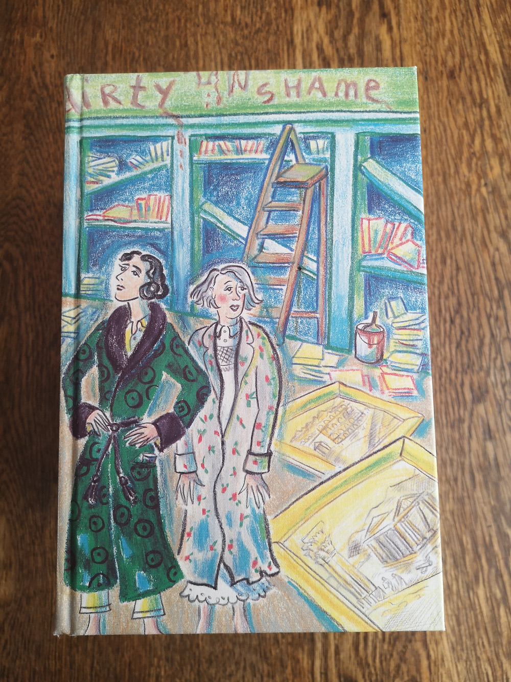 Colour illustrated book cover with two women with broken bookshelves in the background