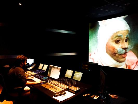Mixando o filme Inferninho no studio da Cinecolor em São Paulo
