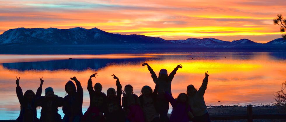 Camp sunset on Lake Tahoe