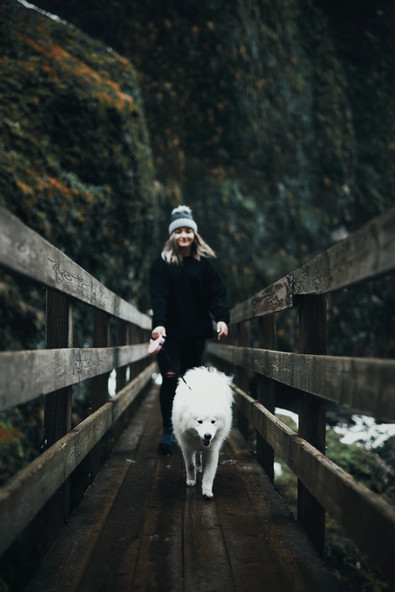 woman-walking-on-wooden-bridge-with-her-