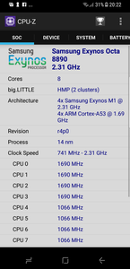 Samsung Galaxy S8 Core speed CPU core speeds go up and down depending on load. This is just a snap shot