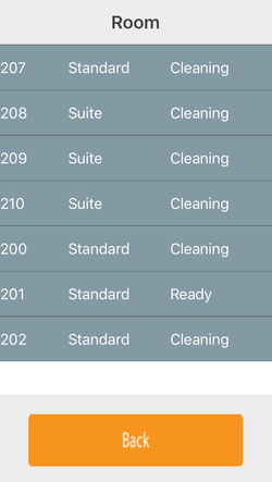 Hotel cleaning app select room
