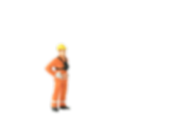miniature construction worker with hands on hips