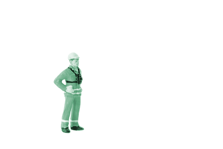 miniature construction worker green