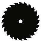 black vector image of saw blade