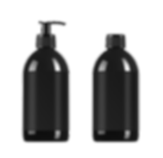 two black differently shaped shampoo bottles next to eachother