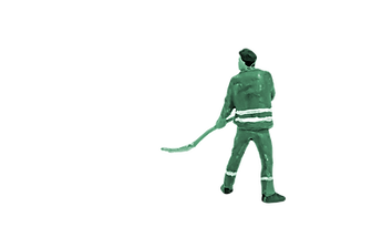 green construction worker with cleaver