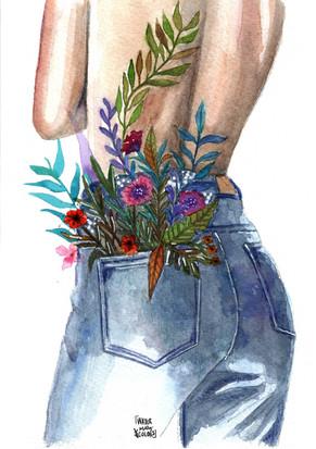 Chica-flores-watermarycolors-ilustracion