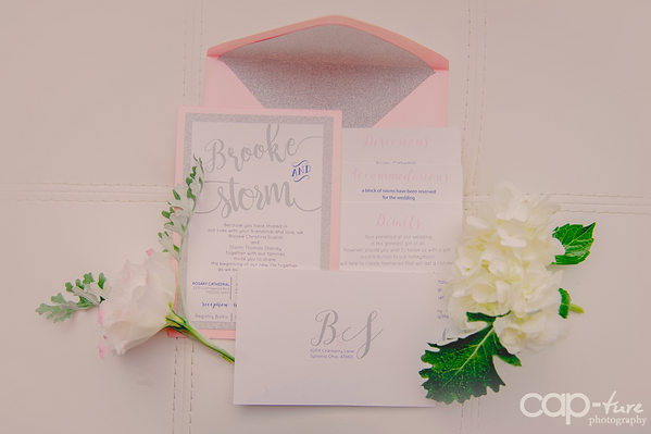 Silver Glitter Envelop Liners, Toled Stationery, Pink Invitation Suite