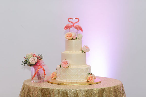 Flamingo Cake Topper, Gold Sequn Cake Table