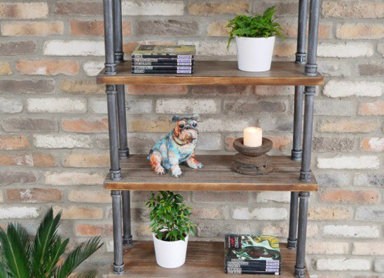 Industrial Style Metal Pipe Wooden Tall Storage Shelving Ladder Unit