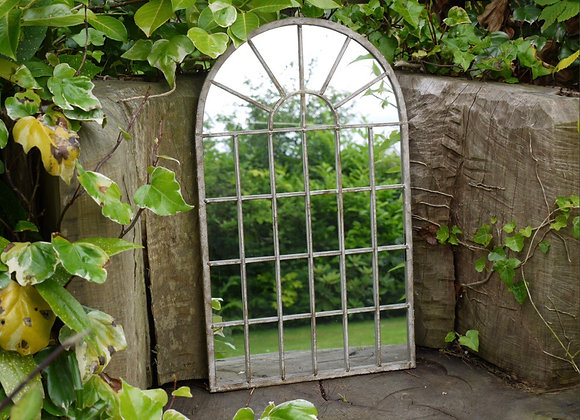 Arched Rustic Window Shaped Mirror Outdoors or Indoors Height 60cm