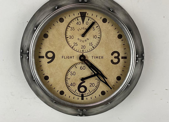 Aviation Wall Clock Finished in Antique Silver