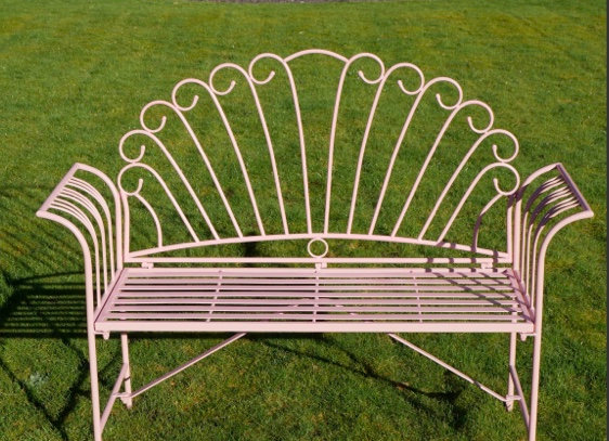 Beautiful Metal Pink Garden Bench