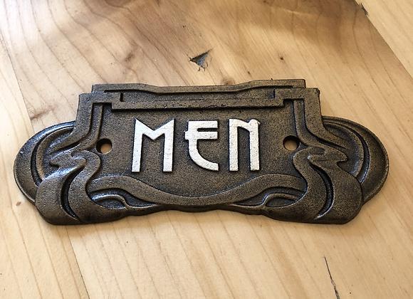 Art Nouveau Style Plaque Cast Iron Men Sign