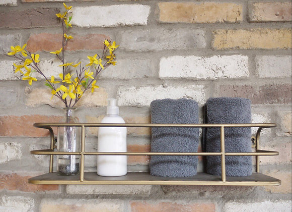 Industrial Style Wall Shelf in rustic gold