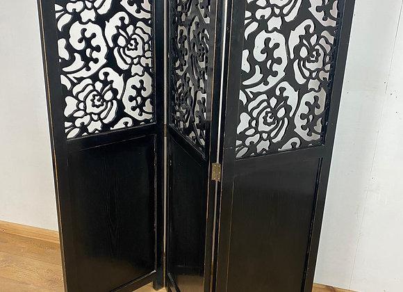 Carved Wooden 3 panel Room Divider in Black