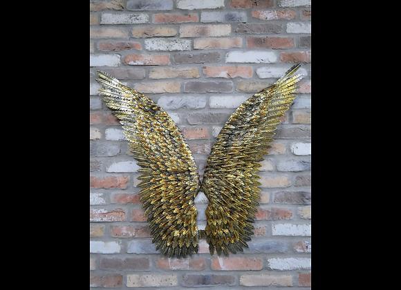 Large Metal Angel Wings Wall Art  Gold