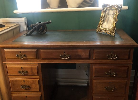 Antique Twin Pedestal Desk Green Leather