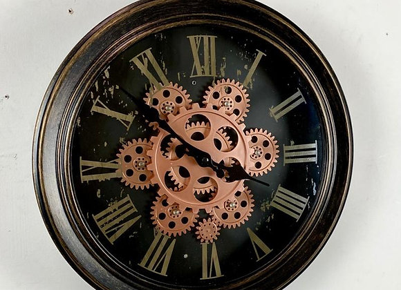Black and Gold / Bronze Moving Gears Wall Clock