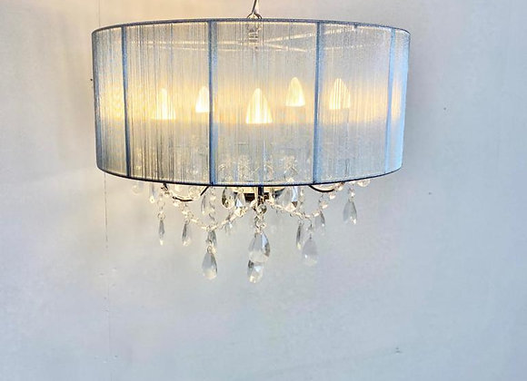 Beautiful Crystal and Crome 5 Branch Chandelier with Silver Shade