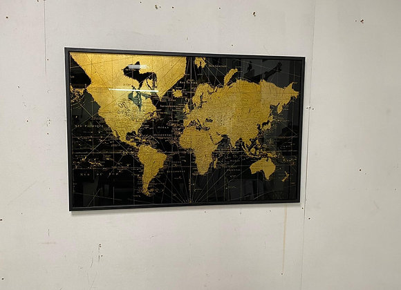 Framed Map of the world wall decoration Black/Gold