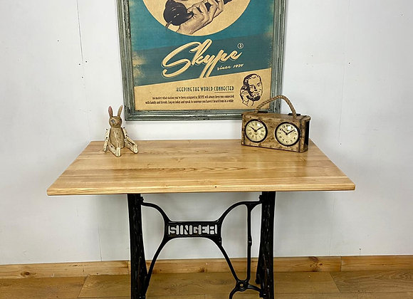 Industrial Chic Table / Desk on Cast Iron Base