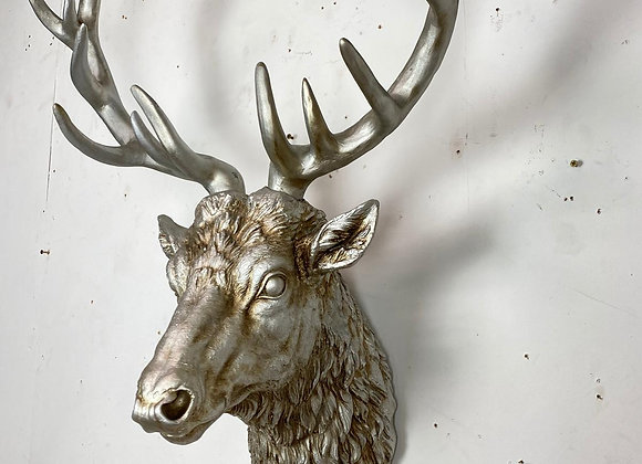 Large Stag Wall Head Finished in antique silver