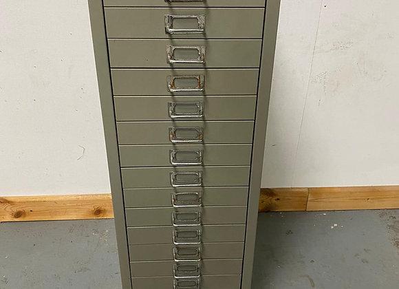 Tall Grey 15 Drawer Metal Filing Cabinet