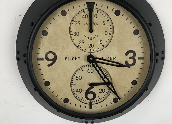 Aviation Wall Clock Finished in Antique Black