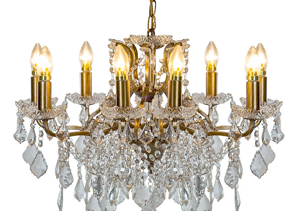 Beautiful Crystal 8 Branch Shallow Chandelier in Gold