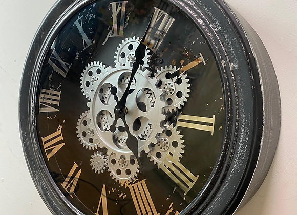 Black and Silver / Grey Moving Gears Wall Clock