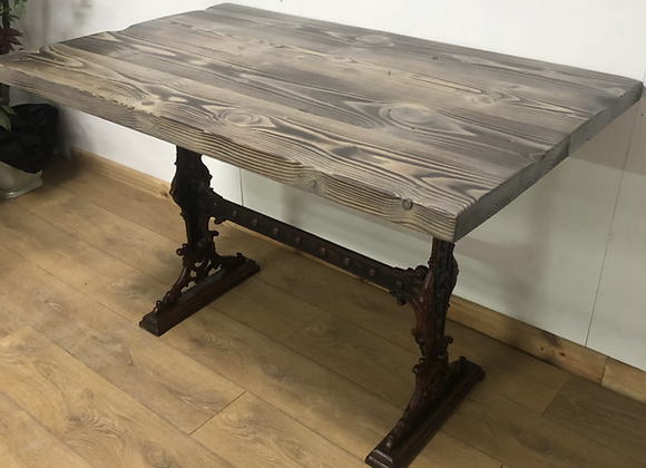 Rustic Industrial Style Table On Antique Cast Iron Base