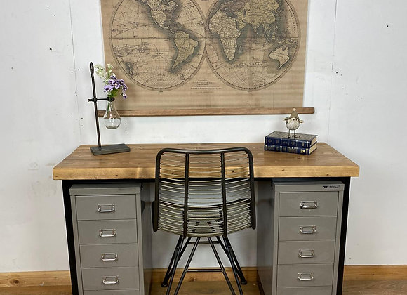 Industrial Style Twin Pedestal Solid Desk